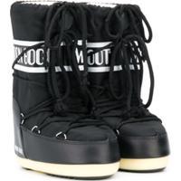 Moon Boot Kids Bota De Neve Com Cadarço E Logo - Preto