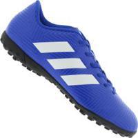 Chuteira Society Adidas Nemeziz Tango 18.4 Tf - Adulto - Azul Branco 9fe95c1c3cb60