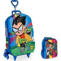 Kit Mochila Teen Titans Go 3D + Lancheira Maxtoy - Unissex-Azul