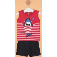 Conjunto De Regata Tubarão + Short- Vermelho & Cinza Esckyly