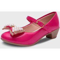 Sapato De Salto Pópidí Menina Laço Pérola Pink