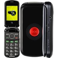 Celular Para Idoso Flip Dl Botão Sos Dual Chip Camera Vga E Radio Fm Yc-130 Preto
