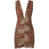 Lethicia Bronstein Vestido Curto Em Seda Drapeado - Estampado