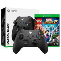 Controle Microsoft Xbox, Sem Fio, Preto - Qat-00007 + Game Lego Marvel Super Heroes 2