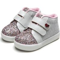 Tênis Pimpolho Infantil Glitter Cinza/Rosa
