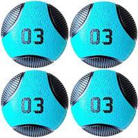 Kit 4 Medicine Ball Liveup Pro A 3 Kg Bola De Peso Treino Funcional - Unissex