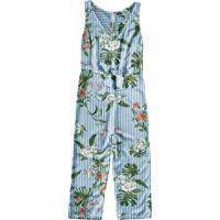 Macacão Azul Claro Pantacourt Floral