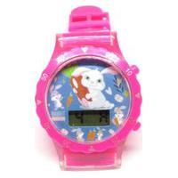 Relógio Infantil Prorider Rosa Com Estampa De Coelhinhos