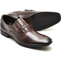 Sapato Social Reta Oposta Masculino Couro Confort - Masculino-Marrom