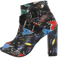 Bota Week Shoes Salto Grosso Cano Baixo Estampado Preto