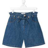 Philosophy Di Lorenzo Serafini Kids Bermuda Jeans Com Amarração Na Cintura - Azul