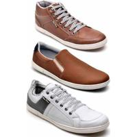 Kit 3 Pares Tênis Casual Mac Point Masculino - Masculino-Marrom+Branco