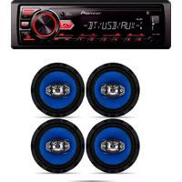 Radio Mp3 Player Bluetooth Usb Aux E Kit 4 Alto Falantes Orion 6 Pol Pioneer 220W Rms Mvh-298Bt