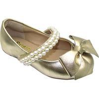 Sapato Boneca Em Couro Com Laã§O & Pedrarias - Douradaprints Kids