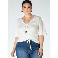 Blusa Plus Size Branca Com Amarração