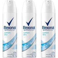 Kit Desodorante Rexona Cotton Dry 48 Horas Aerosol Feminino 150Ml Com 3 Unidades - Feminino
