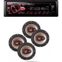 Radio Mp3 Player Bluetooth Usb Aux E Kit 4 Auto Falante 6 Polegadas 50W Pioneer Mvh298Bt