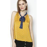 Blusa Com Amarração & Franzidos- Amarela & Azul Marinho
