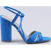 Sandália Feminina Salto Alto Com Nó Em Suede Azul Royal
