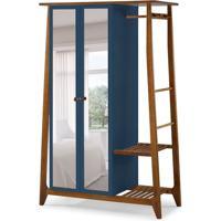Guarda-Roupa Solteiro Stoka Com Espelho 2 Pt Nogal E Azul Noite