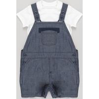 Conjunto De Macacão Jeans + Body Azul Médio