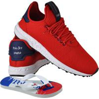 Kit Tênis Masculino Polo Joy Sport + Chinelo - Masculino-Vermelho
