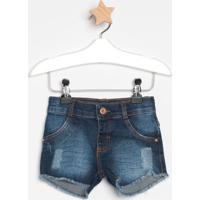 Short Jeans Com Puídosazul Escurolook Jeanslook Jeans