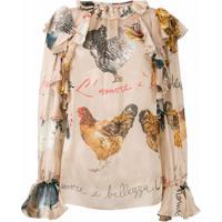Dolce & Gabbana Blusa Estampada De Seda - Neutro