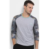 Camiseta Hd Especial Sleeve Glitch Manga Longa Masculina - Masculino-Mescla