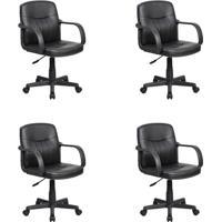 Conjunto Com 4 Cadeiras De Escritório Secretária Clean Preto