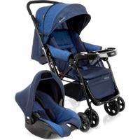 Carrinho De Bebê Travel System Reverse Azul Rajado Cosco