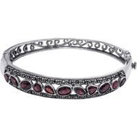 Bracelete De Prata Granada Geométrico Com Marcassita
