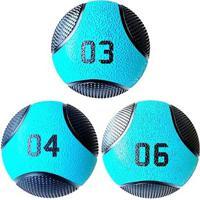 Kit 3 Medicine Ball Liveup Pro 3 4 E 6 Kg Bola De Peso Treino Funcional - Unissex