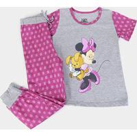 Pijama Infantil Lupo Disney Minnie Longo Feminino - Feminino-Mescla