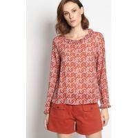 Blusa Abstrata Com Botã£O- Rosa Escuro & Vermelhaenna
