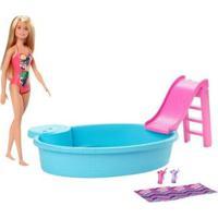 Boneca Barbie Piscina Chique Com Acessórios Mattel - Feminino-Rosa