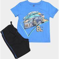 Conjunto Infantil Cativa Estampa Carros Masculino - Masculino-Azul Royal
