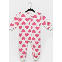 Macacão Bebê Candy Kids Pijama Soft Zíper - Feminino-Branco