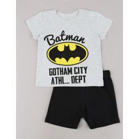 Conjunto Infantil Batman De Camiseta Manga Curta Cinza Mescla Claro + Bermuda Em Moletom Preta