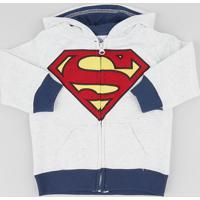 Blusão Infantil Super Homem Com Capuz Em Moletom Cinza Mescla Claro