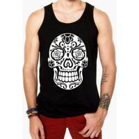 Camiseta Regata Criativa Urbana Caveira Mexicana Rosas - Masculino-Preto