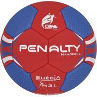 Bola Penalty Handebol Suécia Ultra Grip H3L Masculino Com Costura - Masculino-Vermelho+Azul