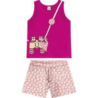 Conjunto Regata Com Shorts Rosa