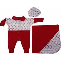 Saída Maternidade Padroeira Baby Marinheiro Vermelho.