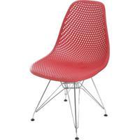 Cadeira Eames Furadinha Cor Vermelho Com Base Cromada - 55988 Sun House
