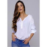 Camisa Solta Feminina Viscose Sob Com Bordado - Feminino-Branco