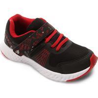 Tênis Infantil No Stress Detalhe Velcro Running - Masculino-Preto+Vermelho
