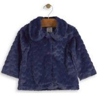 Casaco Pelo De Coração Bebê Up Baby Feminino - Feminino-Azul Escuro