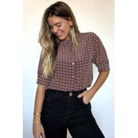 Camisa De Seda Estampada Geométrico Est Pois Textura Vermelho