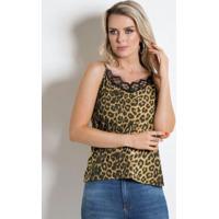 Blusa Animal Print Com Renda No Decote